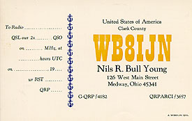 My last QSL card printing with the old WB8IJN callsign, ca 1995